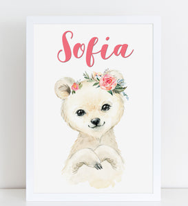 Baby Polar Bear Print, Cute Personalised Animal Print for Kids