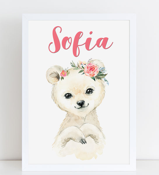 Baby Polar Bear Print, Cute Personalised Animal Print for Kids, A4 or A3