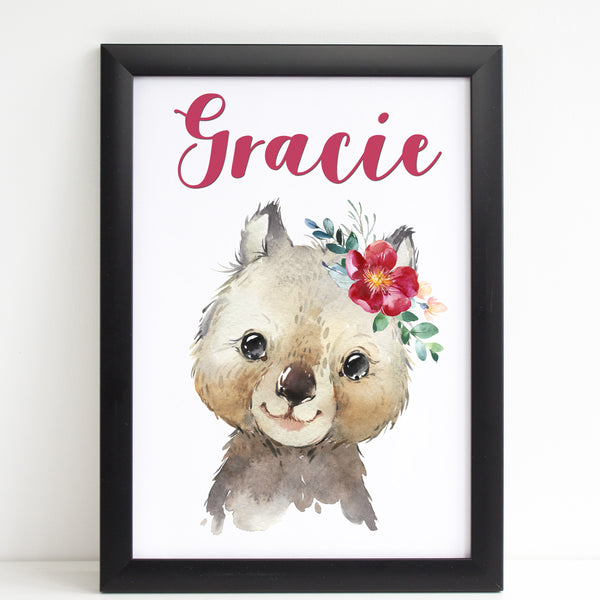 Baby Wombat Print, Cute Personalised Animal Print for Kids