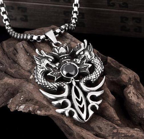 Double Dragon 316L Stainless Steel Necklace