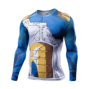 3D Printed Long Sleeve T-Shirt Tee Compression Fitness Male DBZ Crossfit Tops (ASIAN Size) - movie cartoon anime hoodie - Planet Vegeta