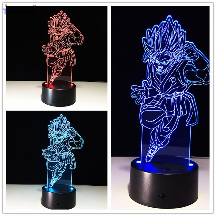 Dragon Ball Z Figure 3D Led Table Flash Goku Fly Effect Colorful Visual Illusion Remote Control USB Lamp