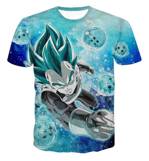 Dragon Ball Z Goku Super Saiyan God Red Blue Hair Vegito 3D Printed T-Shirt (ASIAN Size)