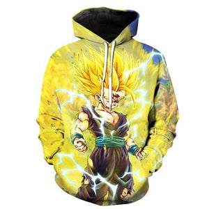 2017 New Fashion 3D Hoodeds Anime Dragon Ball Z Goku Super Saiyan Sweatshirts (ASIAN Size)