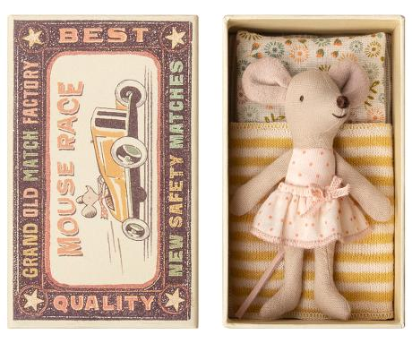 Little Sister Mouse in Box Soft Pink Polka