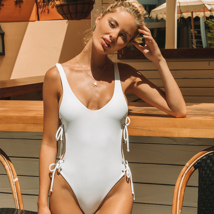 Kati One Piece in White Ribbed