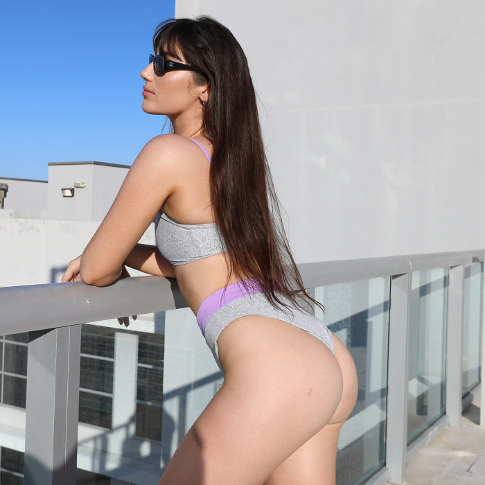 Ivanna Bottom in Ribbed Lilac Colorblock