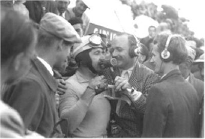 Alberto Ascari being interviewed by John Bolster