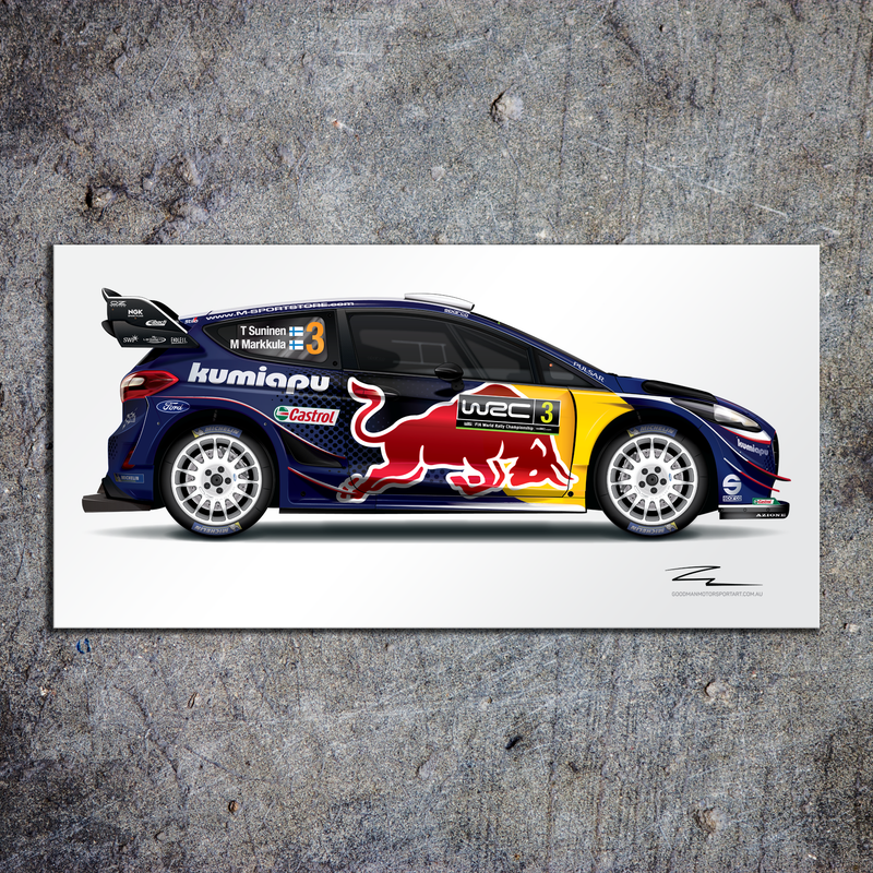Illustration of M-Sport Ford (Suninen) Aluminium HD Metal Print