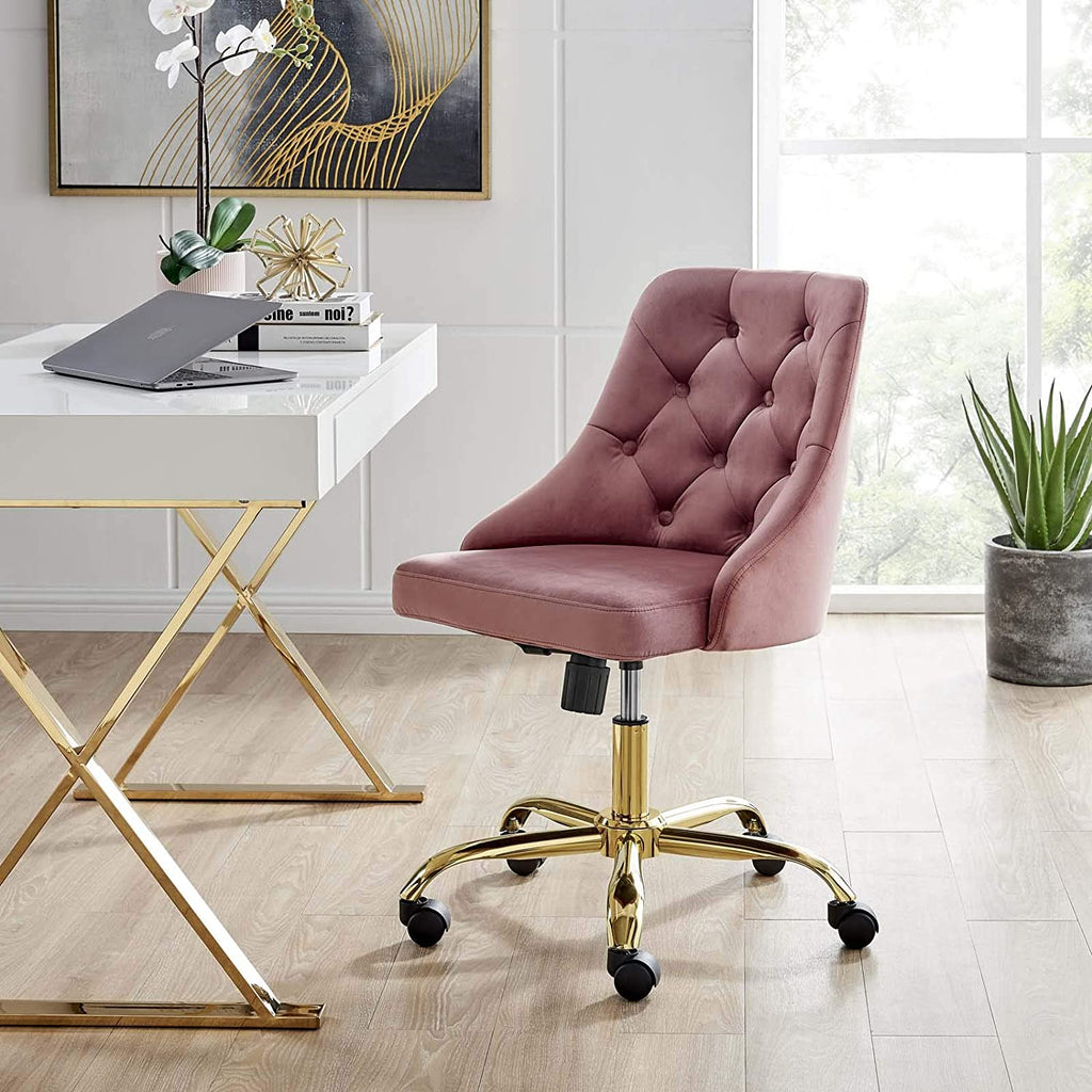 Distinct Tufted Office Chair - Dusty Rose