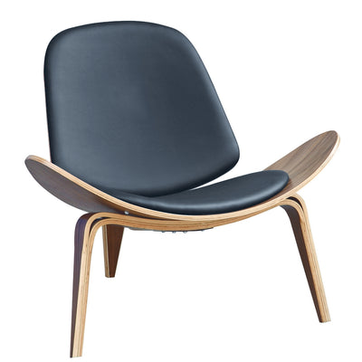 Wantism Curved Shell Lounge Chair Black