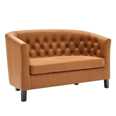 Wantism Clemens Faux Leather Loveseat Tan