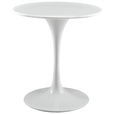 "Mid-Century Round 28"" Tulip Dining Table Wood Top, White - Wantism"