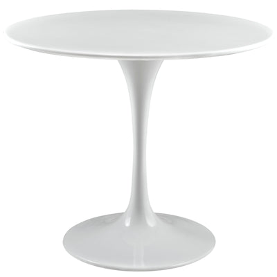"Mid-Century Round 36"" Tulip Dining Table Wood Top, White - Wantism"