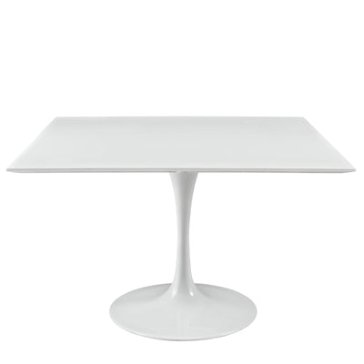 "Mid-Century Square 47"" Tulip Dining Table, White - Wantism"