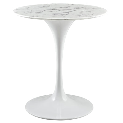 "Mid-Century Round 28"" Tulip Dining Table Artificial Marble, Marble White - Wantism"