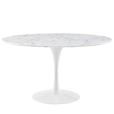 "Mid-Century Round 54"" Tulip Dining Table Artificial Marble, Marble White - Wantism"