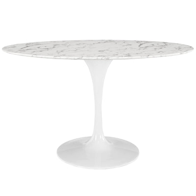 "Mid-Century Oval 54"" Tulip Dining Table Artificial Marble, Marble White - Wantism"