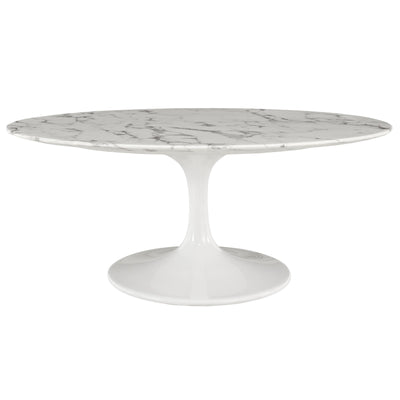"Mid-Century Oval 42"" Tulip Coffee Table Artificial Marble, Marble White - Wantism"