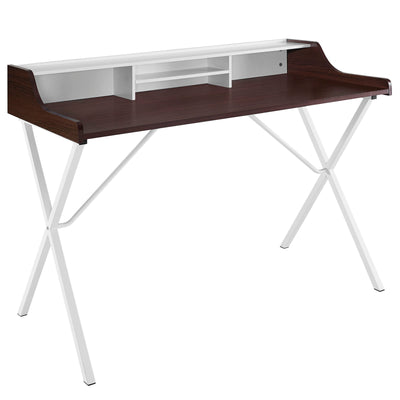 Modern Bin Office Writing Desk A-Frame Legs, Cherry - Wantism
