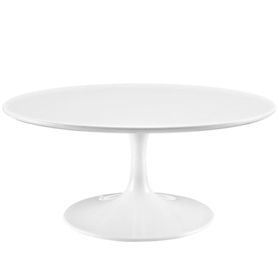 "Mid-Century Modern Round 36"" Tulip Coffee Table, White - Wantism"
