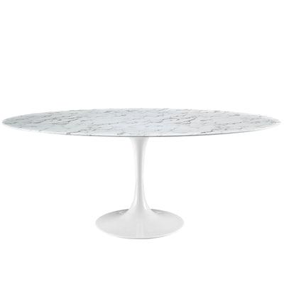 "Mid-Century Oval 78"" Tulip Dining Table Artificial Marble, Marble White - Wantism"