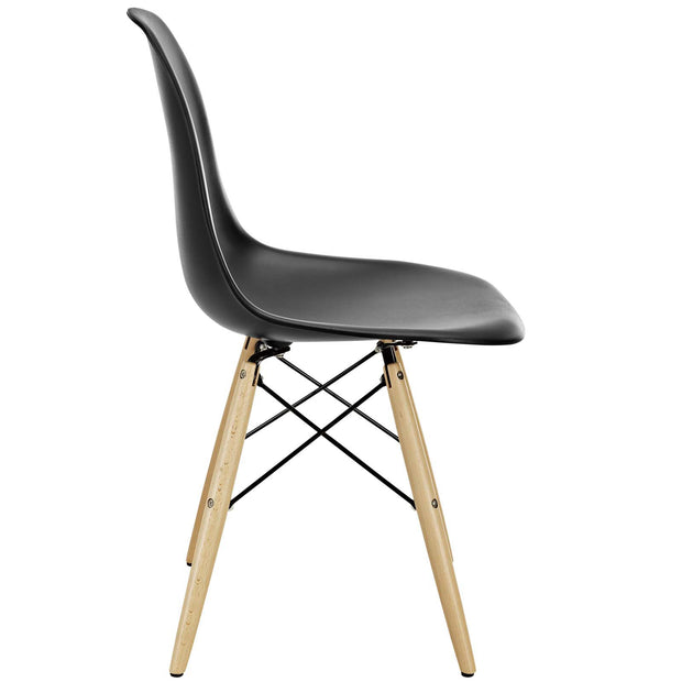 Wantism Eames Style Ansel Molded Plastic Side Chair with Natural Legs Black