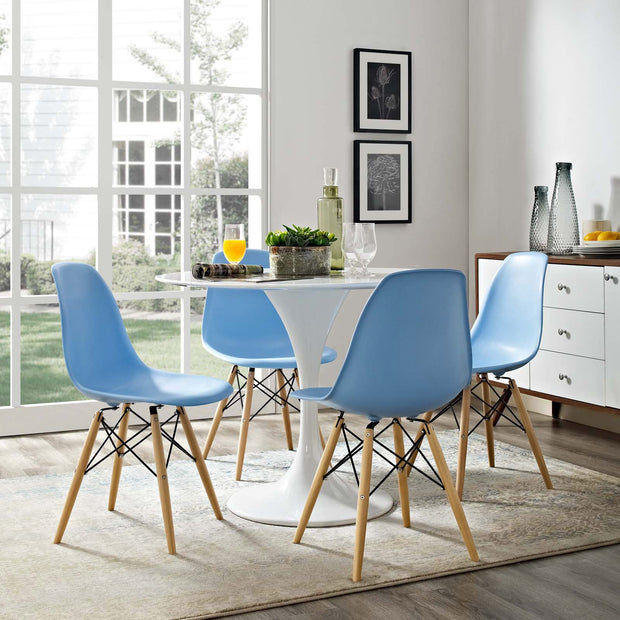 Wantism Eames Style Ansel Molded Plastic Side Chair with Natural Legs Light Blue