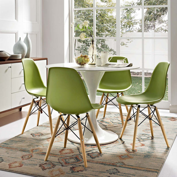 Wantism Eames Style Ansel Molded Plastic Side Chair with Natural Legs Light Green