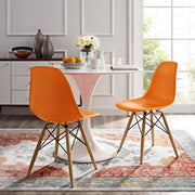 Wantism Eames Style Ansel Molded Plastic Side Chair with Natural Legs Orange