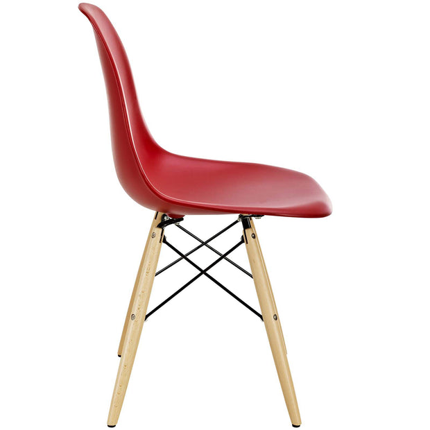 Wantism Eames Style Ansel Molded Plastic Side Chair with Natural Legs Red