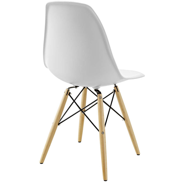 Wantism Eames Style Ansel Molded Plastic Side Chair with Natural Legs White