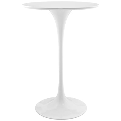 "Mid-Century Round 28"" Tulip Bar Dining Table, White - Wantism"
