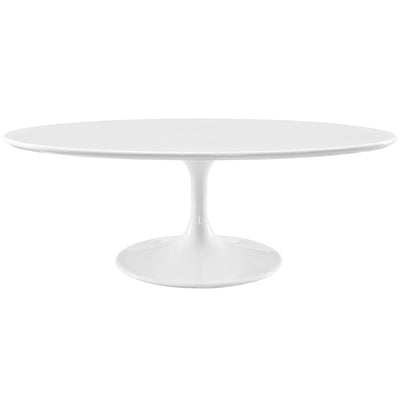 "Mid-Century Modern Oval 48"" Tulip Coffee Table, White - Wantism"