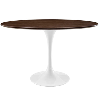 "Mid-Century Oval 48"" Tulip Dining Table Wood Top, Walnut White - Wantism"