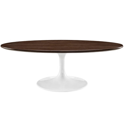 "Mid-Century Oval 48"" Tulip Coffee Table Wood Top, Walnut White - Wantism"