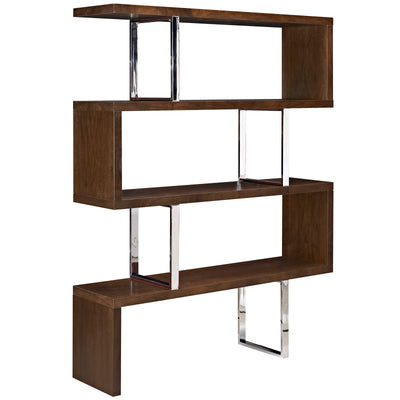 Modern Meander Bookcase Office Shelving Display Stand, Walnut - Wantism