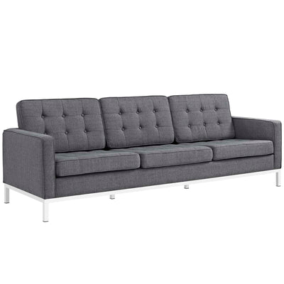 Mid-Century Modern Loft Sofa Button Tufted Steel Legs, Dark Gray - Wantism