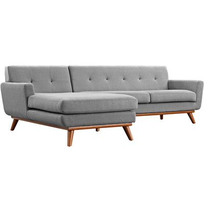 Wantism Soren Mid-Century Left-Facing Sectional Sofa Gray