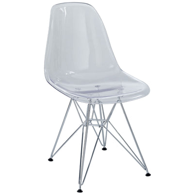 Wantism Clear Ansel Side Chair with Eiffel Base