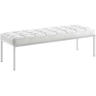 Wantism Evans Tufted Leather Bench White
