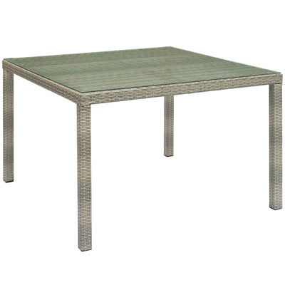 Wantism Addison Outdoor Rattan Dining Table, Gray - 47""