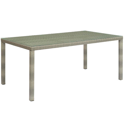 Wantism Addison Outdoor Rattan Dining Table, Gray - 70""