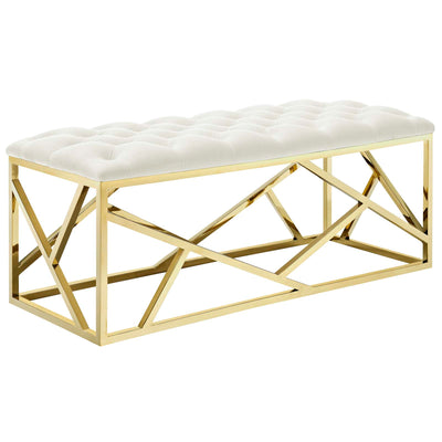 Wantism Marlowe Tufted Bench - Gold Ivory