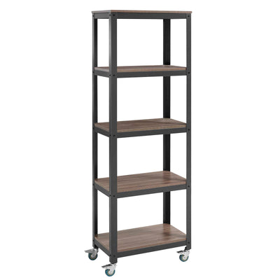 Modern Industrial Vivify Bookcase Office Shelving Stand, Walnut - Wantism