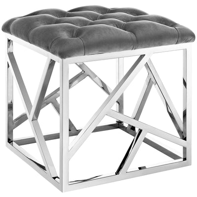 Wantism Marlowe Tufted Ottoman - Silver Gray