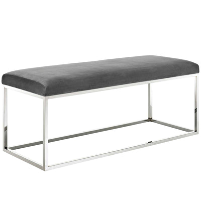 Wantism Marilyn Velvet Bench - Silver Gray