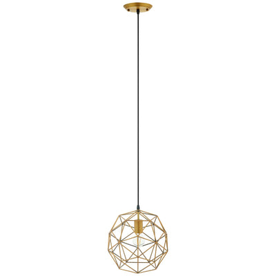 Industrial Chic Rarity Geometric Pendant Light Fixture, Brass - Wantism