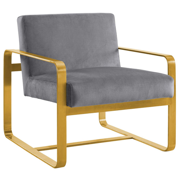 Wantism Evelyn Velvet Armchair Gray