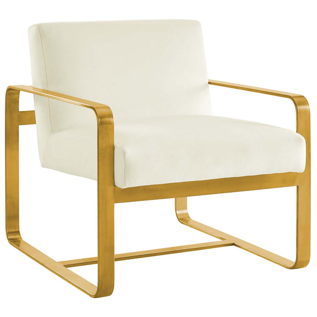 Wantism Evelyn Velvet Armchair Ivory